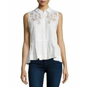 Rebecca Taylor Cotton Poplin Lace Inset Snow